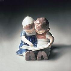 Royal Copenhagen boy and girl reading figurine