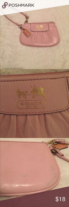 Coach clutch Pink leather coach clutch. Authentic! There is a blue stain on the back it is photographed in the pictures. Coach Bags Clutches & Wristlets