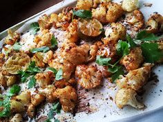 Roasted Cauliflower with Chili, Lime & Cilantro - yummy!