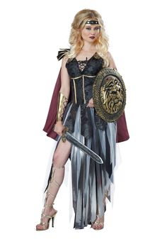 Details about  /Slaying It Costume Womens Warrior Princess Gladiator Greek Roman Fancy Dress