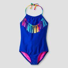 Girls' One Piece Swimsuit With Tassels Xhilaration™ - Blue M : Target