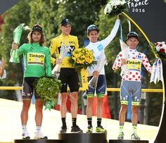 Peter Sagan of Slovakia and Tinkoff winner of the green jersey of best sprinter Chris Froome of Great Britain and Team Sky winner of the Tour…
