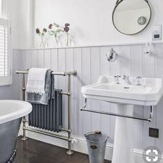 Heritage Bathroom Furniture Elegant Grey Traditional Bathroom with Dark Wood Flooring – Most Popular Modern Bathroom Design Ideas for 2019 Barn Bathroom, Bathroom Sconces, Family Bathroom, Small Bathroom, Bathroom Ideas, Wood Panel Bathroom, White Bathroom, Bathroom Renovations, Bathroom Radiators
