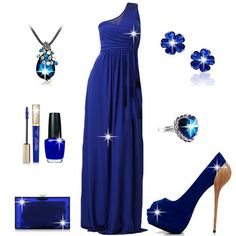 One-shoulder Floor Length Evening Dress with Elegant Blue Fish-toe Suede Upper Stiletto Heels Prom Shoes #999558 - I'm Addicted To You Find More: http://www.imaddictedtoyou.com/