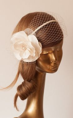 BRIDAL BIRDCAGE VEIL.Flower Headband Unique Ivory Cream Flower with Veil . Wedding Hair Accessory. Handmade Taffeta Flower