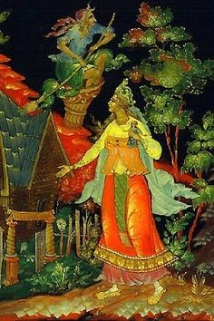 Baba Yaga Russian laquer-style art. Essay on Baba Yaga inside.