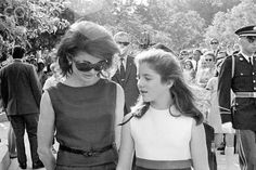 Jackie and Caroline leave Arlington National Cemetery after a memorial mass for Senator Robert F. Kennedy, June 6, 1969.