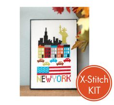 New York City Easy Cross Stitch Kit FREE Shipping by tinymodernist, $18.00