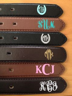 Misc monogrammed belts for equestrians. Available in a variety of colors and styles. Equestrian monograms. Equestrian belt. Monogrammed belt. Horse show belt. Get yours www.etsy.com/shop/itsshowtimedesign