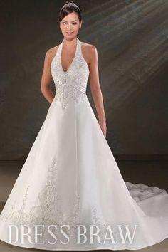 A-Line/Princess Halter Cathedral Wedding Dresses