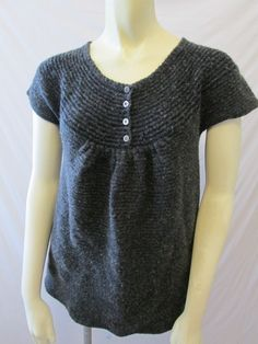 J. Jill Petite Gray Babydoll Ribbed Scoop Neck Cap Sleeve Felted Sweater PS S #JJill #ScoopNeck