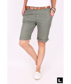 Dámske šortky khaki Bermuda Shorts, Women, Fashion, Moda, Fashion Styles, Fashion Illustrations, Shorts, Woman