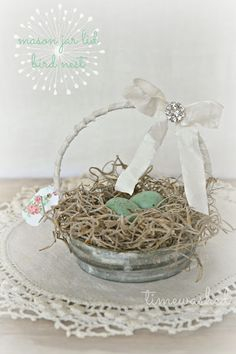 TIMEWASHED...Little nests made in mason jar lids