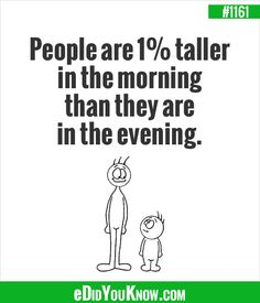 eDidYouKnow.com ►  People are 1% taller in the morning than they are in the evening.
