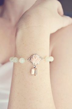 Bridesmaid Jewelry - Peach and Light Green Bracelet, Flower, Silver Plated, Wedding Jewelry - Georgia Peach Collection. $30.00, via Etsy.