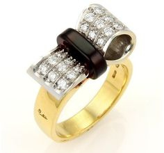 Pomellato 18k Gold Diamond & Garnet Bow Ring