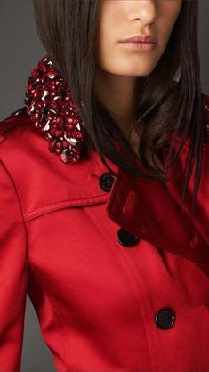 Red silk satin with a gem-embellished collar. Burberry Trench Coat, Leather Trench Coat, Long Trench Coat, Leather Jacket, Satin Coat, Red Satin, Red Silk, Silk Satin, Simply Red