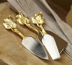 Gold Leaf Cheese Knives, Set of 3 #potterybarn Oooohhhh my signature gold leaf design... must!!!