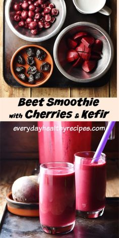 This rich, delicious beet smoothie recipe contains nutritious, tangy kefir, cherries and prunes for extra sweetness and creamy consistency. Enjoy as part of a healthy breakfast or snack anytime. Berry Smoothie Recipe, Beet Smoothie, Protein Smoothie Recipes, Easy Smoothies, Strawberry Smoothie, Fruit Smoothies, Beet Recipes, Cherry Recipes, Cooking Recipes