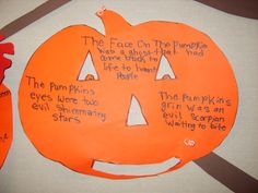 Pumpkin Metaphors! A great October activity. We made ours into a fall tree filled with lots of Pumpkins & Jack-o-Lanterns!