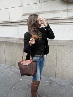 longchamp le pliage outfit - Google Search