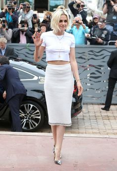 Pin for Later: Every Single Look From the Cannes Film Festival You Just Can't Miss  Kristen Stewart was in all white Chanel for her Café Society photocall.