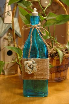 I'm not gonna buy this, I'm gonna make a better one. Twine Wine Bottles, Wine Bottle Candles, Bottle Art, Frost, Upcycle, Recycling, Crafty, Oil, Handmade Gifts
