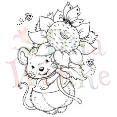 "Mouse with Sunflower - $7.99 This darling little mourse with his sunflower can send so many messages of cheer - birthday, get well, thinking of you, just because.... Just pick one!   Photopolymer clear stamp by Tena Wenke.  Approximately 3 1/2"" x 2 3/4"""