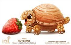 Daily Paint 1914 # Nutshell by Cryptid-Creations Cute Food Drawings, Cute Animal Drawings Kawaii, Kawaii Drawings, Cartoon Drawings, Horse Drawings, Cute Fantasy Creatures, Cute Creatures, Animal Puns, Animal Food