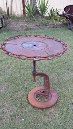 G clamp table.  Made from saw blades chain brake rotor and g clamp