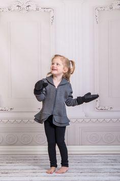 Charcoal Peplum Fleece with snap-on mittens