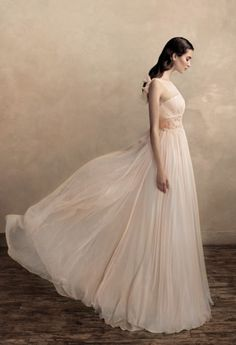 Square A line wedding dress
