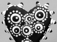 Oreo Mod Spot Polka Dot HeartHandmade Lampwork by beadygirlbeads, $37.00