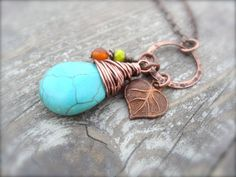Fiesta necklace with Copper Wire Wrapped Turquoise by Kitschish, $25.00