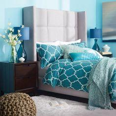 Upholstered bed frame from Urban Barn Home Bedroom, Bedroom Furniture, Master Bedrooms, Bedroom Ideas, Teal Bedding, Urban Barn, Upholstered Bed Frame, Modern Bedroom Design, Traditional Bedroom