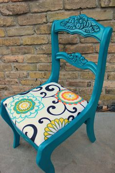 Nouvelle Vie Furniture: finished floral back chair