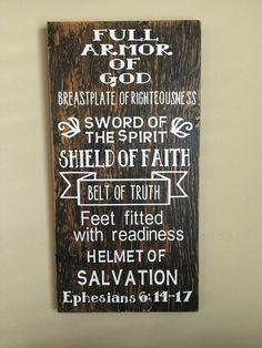 Armor Of God Custom Wood Sign