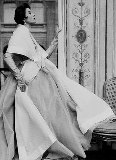 Bettina in a dress and stole from Hubert de Givenchy's first collection, 1952. Photograph by Henry Clarke.