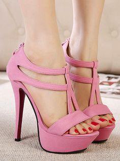 Pink Stiletto High Heel T Strap Fashion Sandals