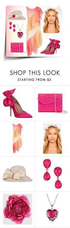 """""""Peach and pink"""" by callmerose ❤ liked on Polyvore featuring Kurt Geiger, Jimmy Choo, Temperley London, Pomellato and Gucci"""
