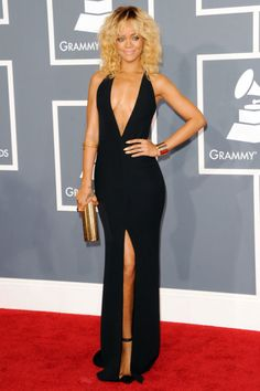 Rihanna channeled a Barbadian Barbie doll at the 2012 Grammy Awards with her blonde locks and super-sexy Armani gown.