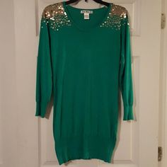 Sweater dress Green with gold sequin  shoulders. Beautiful and form fitting! Only worn one time! Say What Dresses