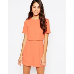 Oasis Lace Detail Playsuit ($29) ❤ liked on Polyvore featuring jumpsuits, rompers, coral, playsuit romper, tall romper, red romper and red rompers