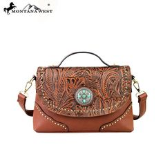 Montana West Vegan Leather Crossbody Messenger Handbag New with Tags Brown #MontanaWest #MessengerCrossBody