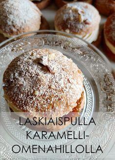 Maukkaat laskiaispullat karamelli- omenahillolla Doughnut, Hamburger, Bread, Desserts, Food, Tailgate Desserts, Deserts, Brot, Essen