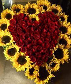 How Wedding Registry Works Sunflower Arrangements, Funeral Flower Arrangements, Sunflower Bouquets, Funeral Flowers, Rose Wedding, Fall Wedding, Wedding Flowers, Wedding Ideas, Red Roses And Sunflowers
