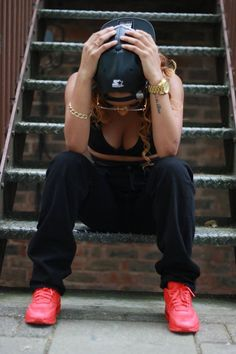 Paigey Cakey UK London Female Rapper Singer Dope Swag Bralet Joggers Pants SnapBack Red Air Max Hyperfuse Trainers Sneakers Footwear Gold Watch Jewellery Urban Streetwear Fashion Style Trend Grime