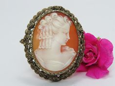 Authentic Victorian silver cameo with a lovely by Olablingola, $65.00