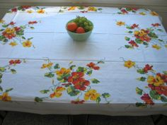 Dining Room - tablecloth - Vintage Reproduction Nasturtium Tablecloth