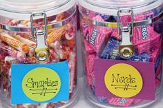 Fill a couple of jars full of Smarties and Nerds for an grade graduation party! Graduation Party Planning, College Graduation Parties, Graduation Celebration, Graduation Decorations, School Parties, Grad Parties, Graduation Party Favors, Themed Parties, 5th Grade Graduation